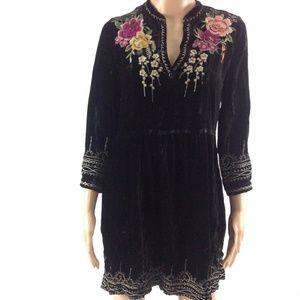 $315 Johnny Was JWLA Flores Velvet Boho Dress